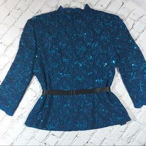 Alex Evenings Tops - Alex evenings royal blue sequined top
